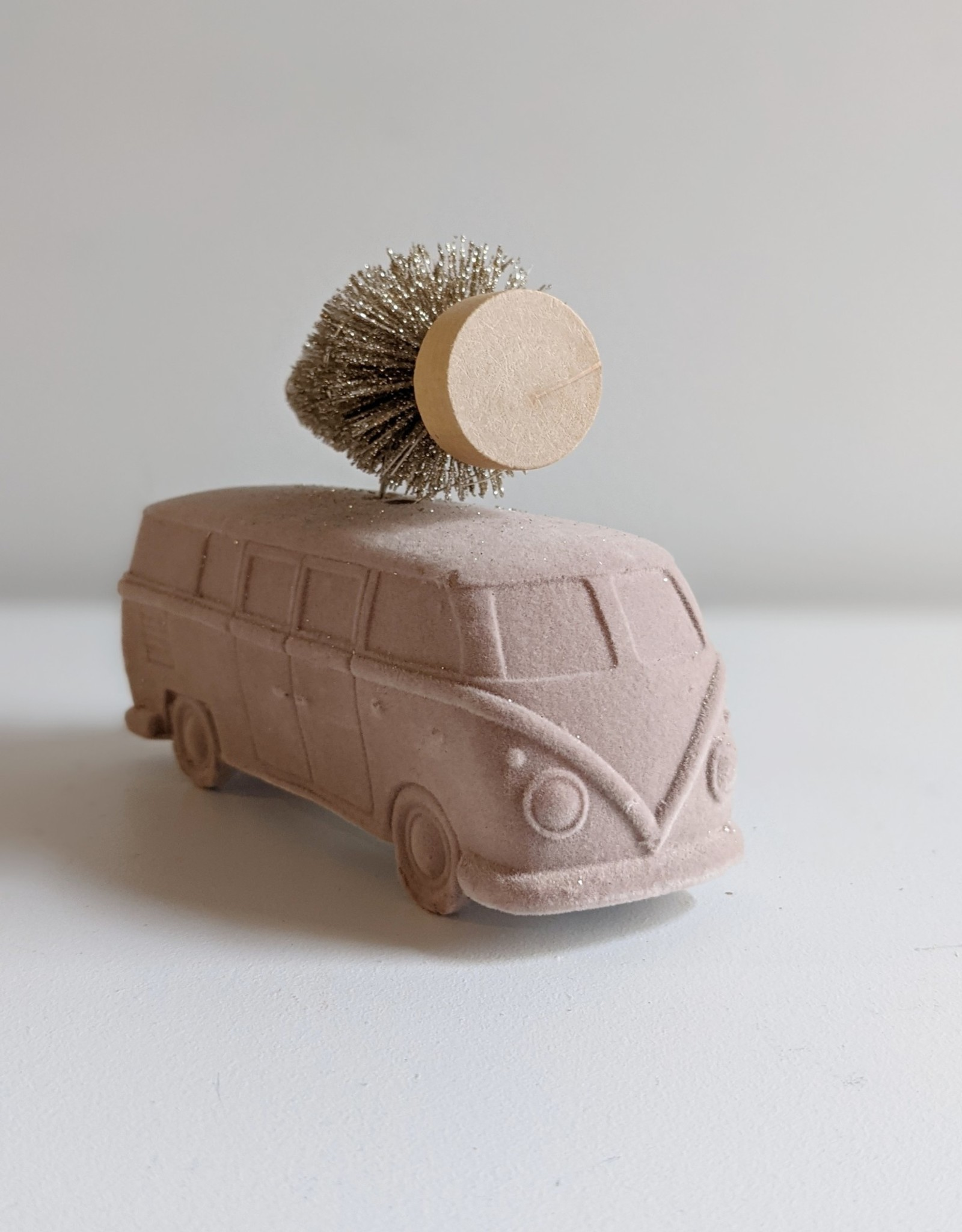 Vintage Bus with Brush Tree and LED Lights