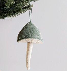 Velvet Beaded Mushroom Ornament (Choose Color)