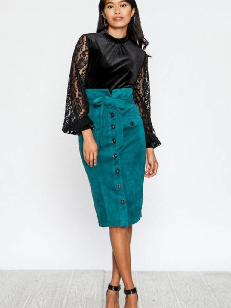 1fd393b035 Flying tomato green button down pencil skirt - Twirl Dress Boutique