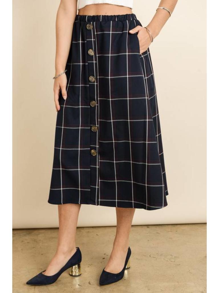 Les amis plaid navy skirt w buttons s c twirl dress