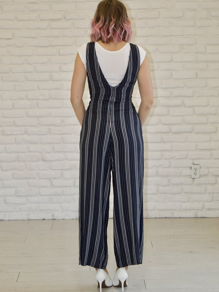 97e382ab96 Navy and White Boho Stripes Jumpsuit - Twirl Dress Boutique