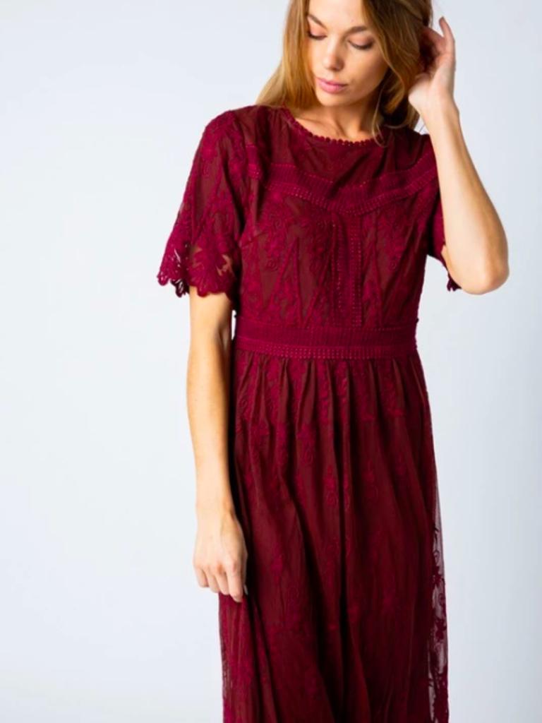 Twirl Amanda Lace Midi Dress In Burgundy