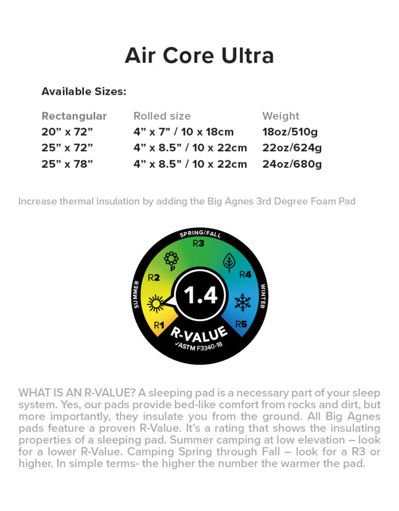 Big Agnes Air Core Ultra 25x72 Wide Regular
