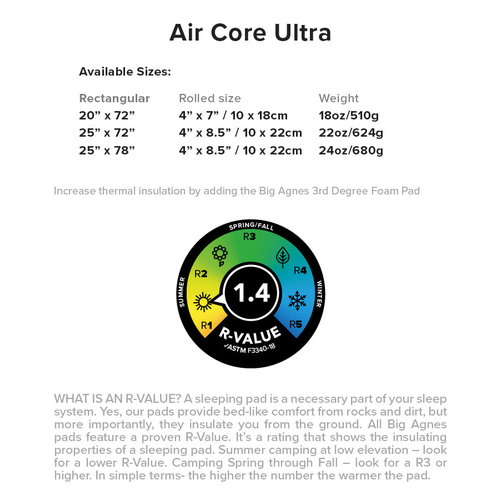 Big Agnes Air Core Ultra 25x78 WIDE LONG