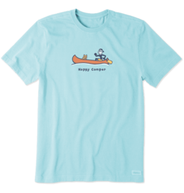 Life is Good Men's Happy Camper Canoe Vintage Crusher Tee