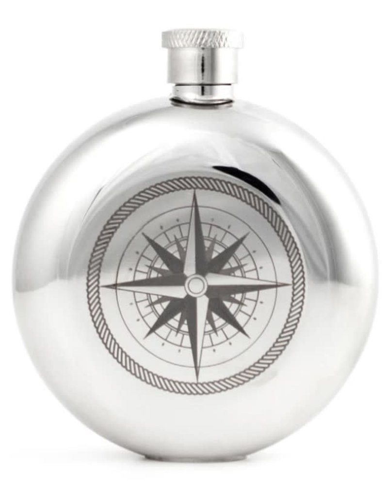 Kikkerland Compass Flask 3oz