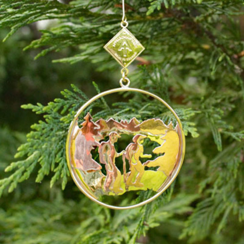 Appalachian Trail Conservancy Brass AT Two Hikers Ornament