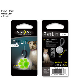 Nite Ize PetLit LED Collar Light Lime Paw Print