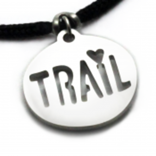 Trail Love Pendant on 2mm Black Polycord