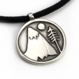 Mountains For Me Pendant on 2mm Polycord