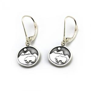 Tarma Bear Happy Earrings Sterling Silver