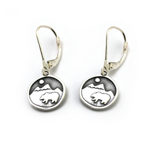 Bear Happy Earrings Sterling Silver