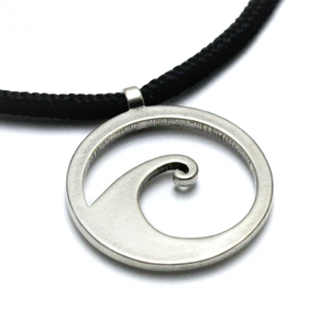 Wave Pendant White Bronze on 3mm Polycord