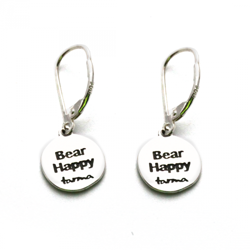 Bear Happy Earrings Sterling Silver