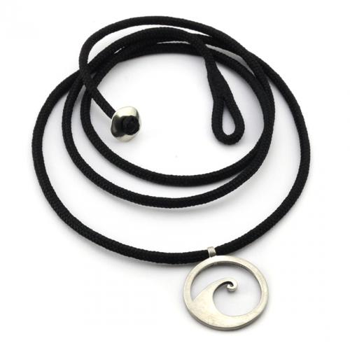 Tarma Wave Pendant White Bronze on 3mm Polycord
