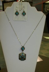 11 - Virginia Ackerman Silver and Turquoise Necklace w/ Ear Rings