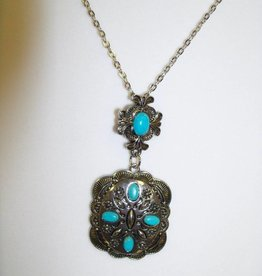 11 - Virginia Ackerman Silver and Turquoise  Necklace