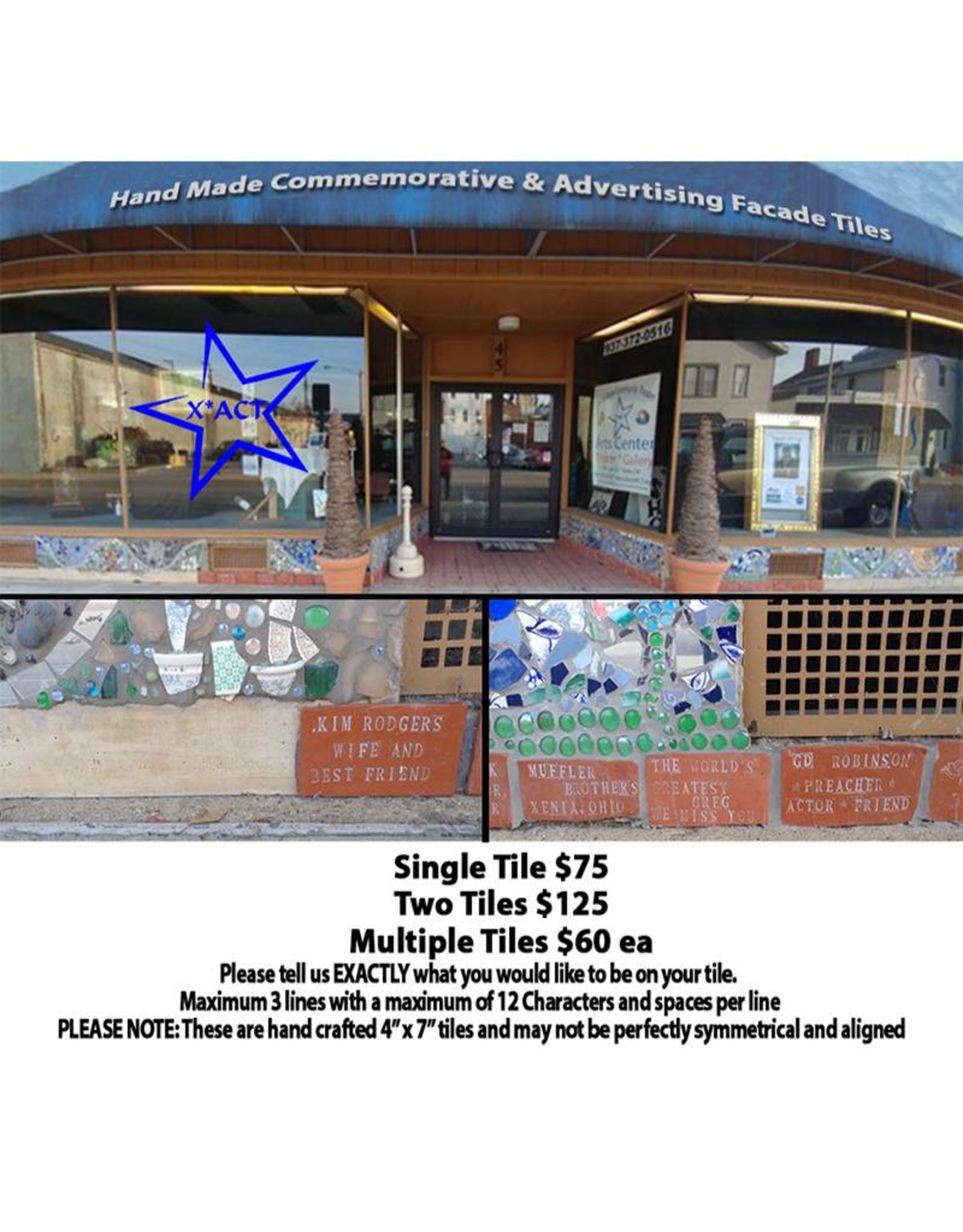 X*ACT Commemorative Tile Project Hand Made Commemorative & Advertising Facade Tiles
