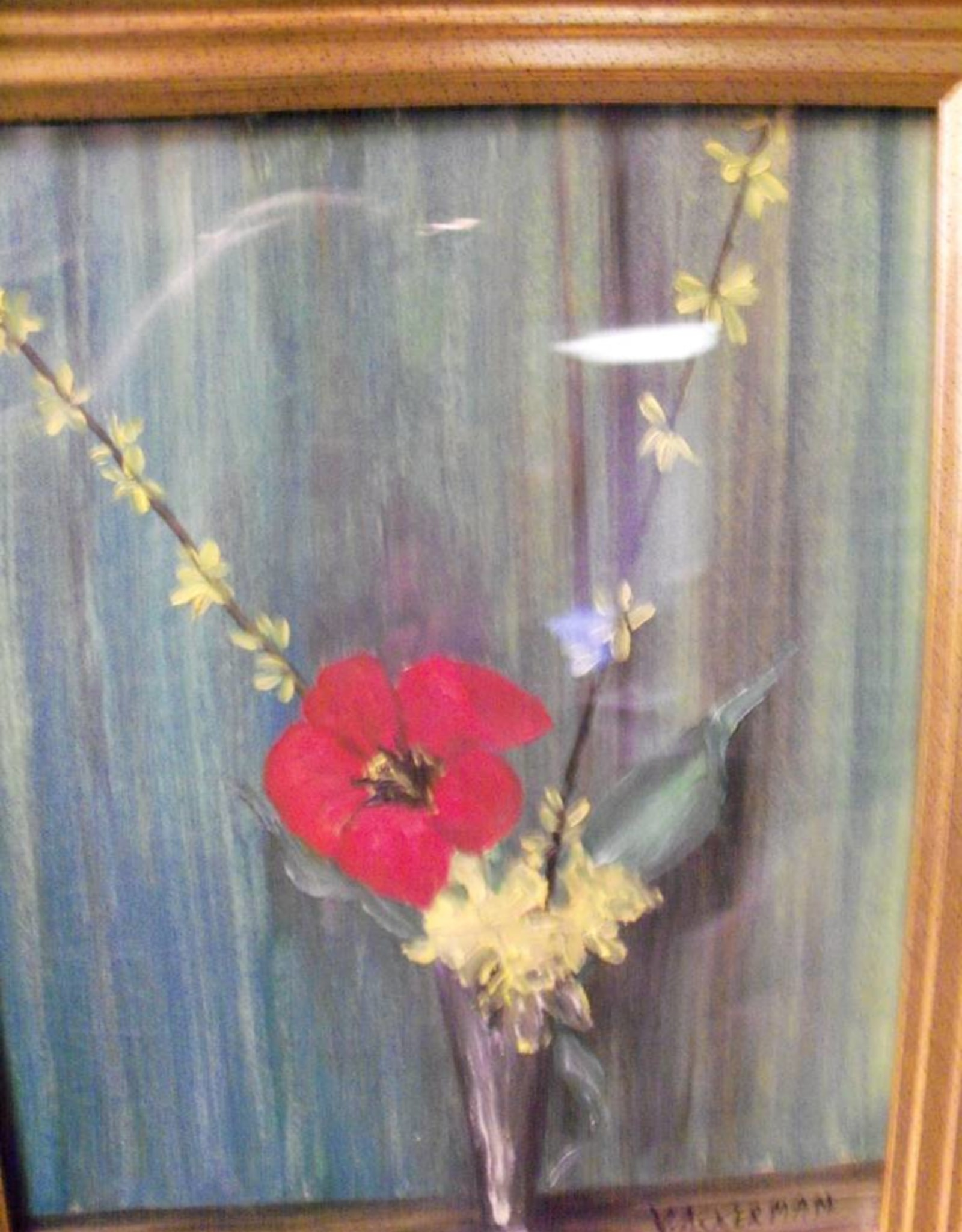 11 - Virginia Ackerman Silver Vase and Tulips Painting 8 X 10 Framed