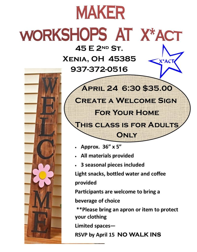 Coterel Gallery Makers Workshop - April 24  @ 6:30 PM  (Adults) - Create a Welcome Sign for Your Home
