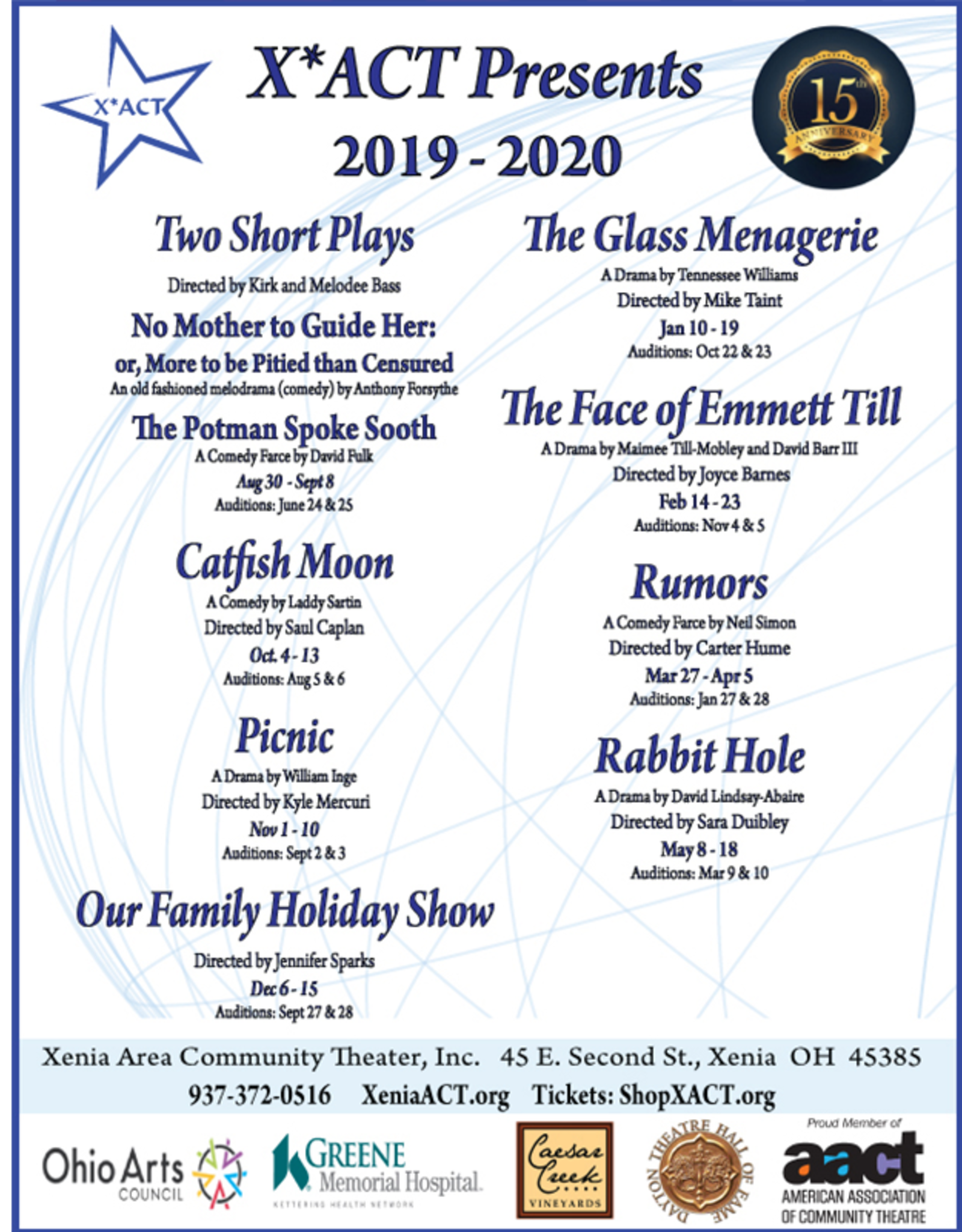 Kettering Theater Season Subscription 2019-2020 Pick 5 Shows