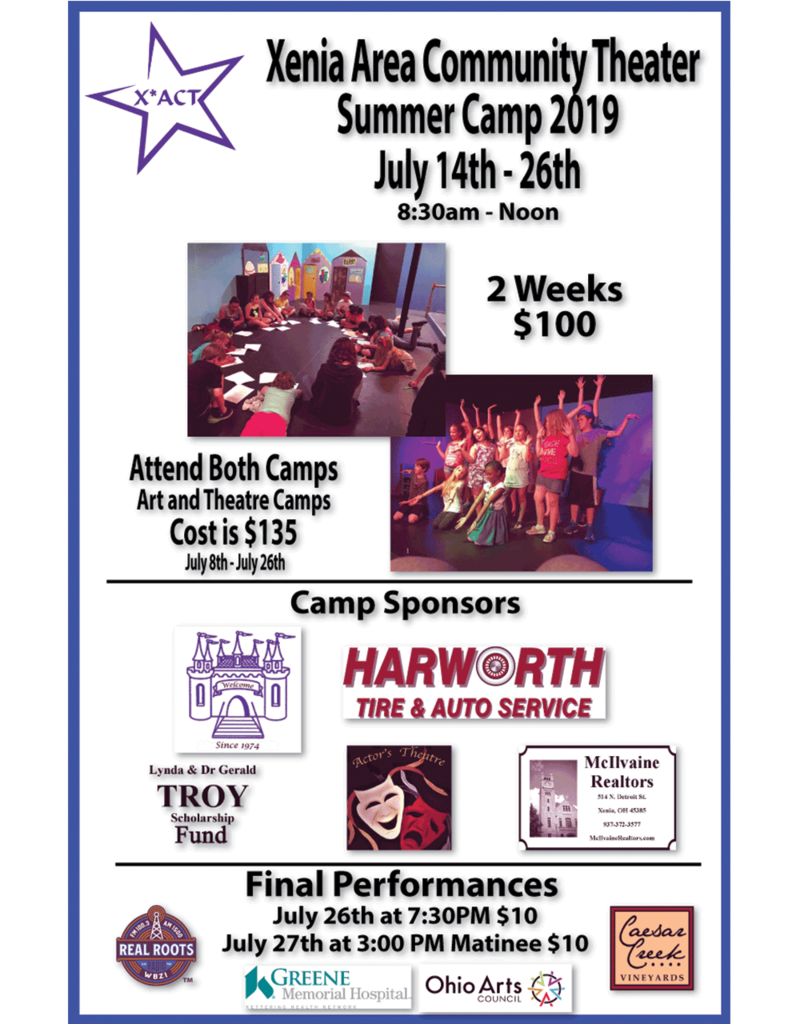 Xenia Youth Center X*ACT Theatre Camp | July 15th to July 26th, 2019