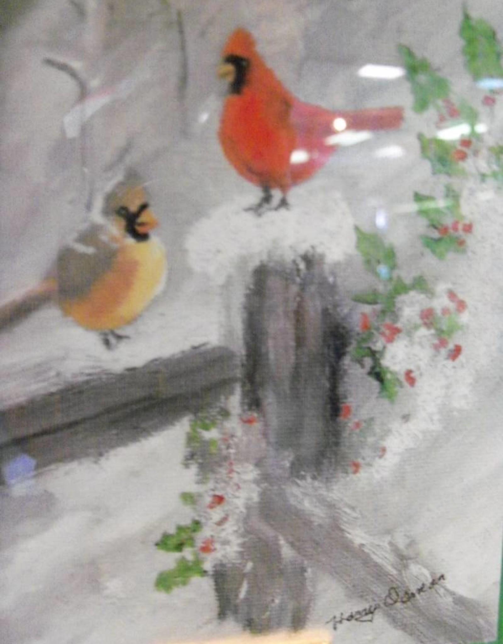 19 - Harry Osman Cardinal Snow Fence Print 3.5 x 5 Card