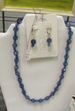 11 - Virginia Ackerman Crystal Blue Beads w Ear Rings