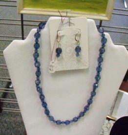 11 - Virginia Ackerman Crystal Blue Beads w Ear Rings