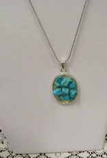 11 - Virginia Ackerman Large Turquoise Stones Necklace Silver Chain