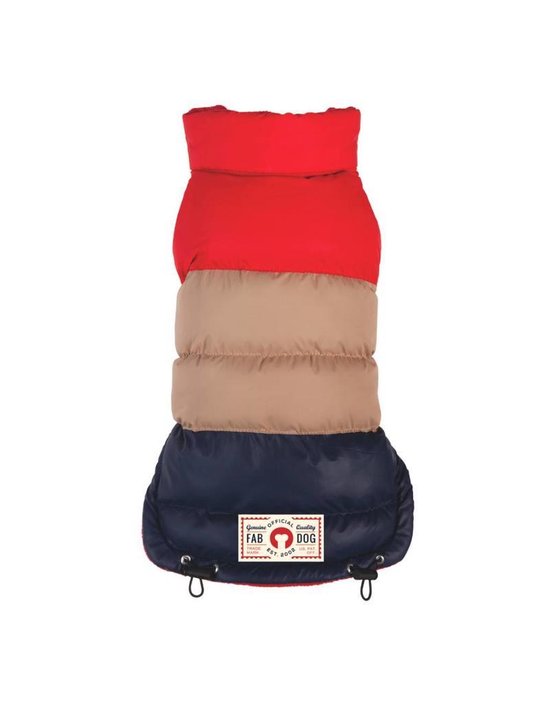 Fab Dog FAB DOG Red/Tan/Navy Colorblock Puffer