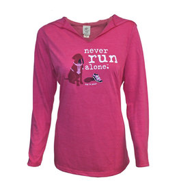 Dog is Good DOG IS GOOD Never Run Alone Long Sleeve Hooded Women's Tee