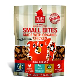Plato Pet Treats !PLATO Small Bites Grain-Free Chicken Dog Treats 4 oz.