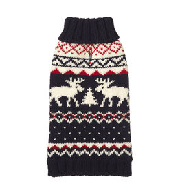 Fab Dog FAB DOG Navy Fairisle Moose Sweater