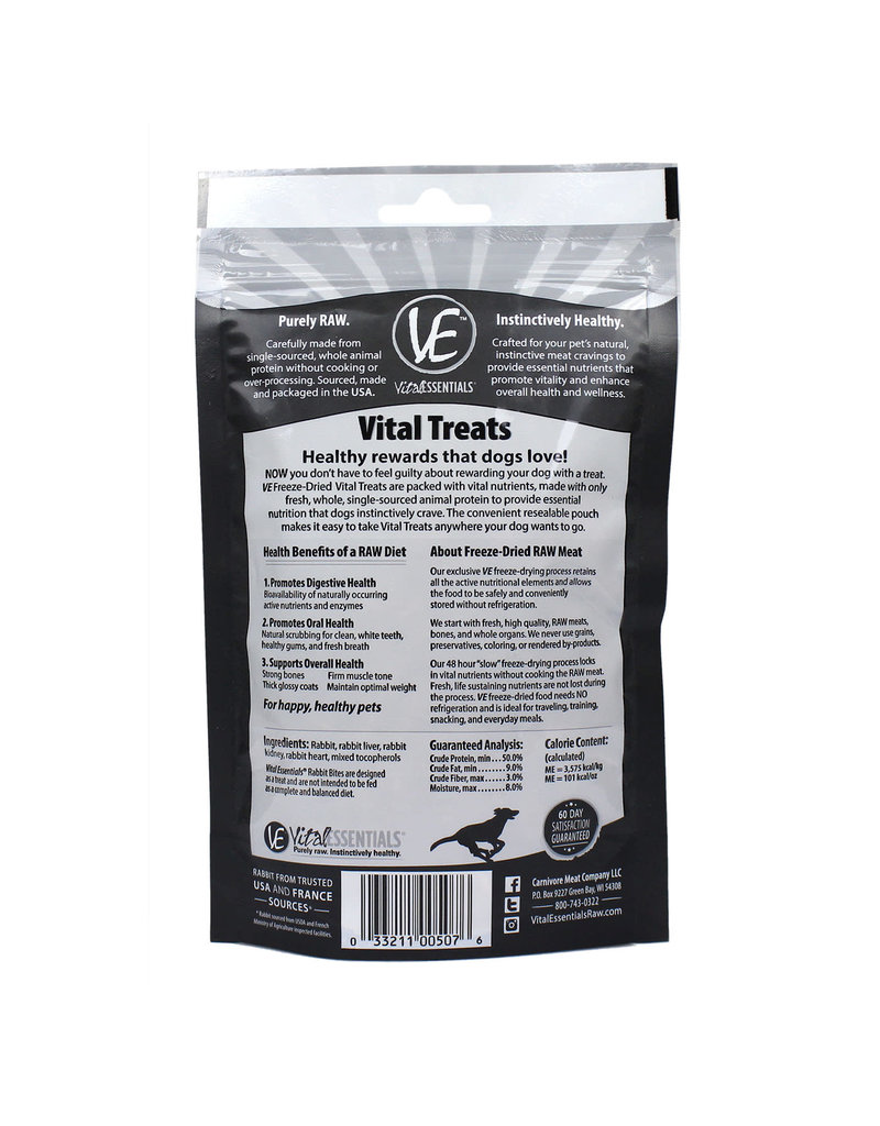 Vital Essentials VITAL ESSENTIALS Freezedried Rabbit Bites Dog Treats