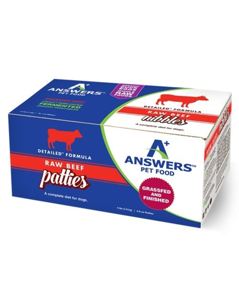 Answers ANSWERS Frozen Raw Canine Detailed Beef 8 -8 oz Patties