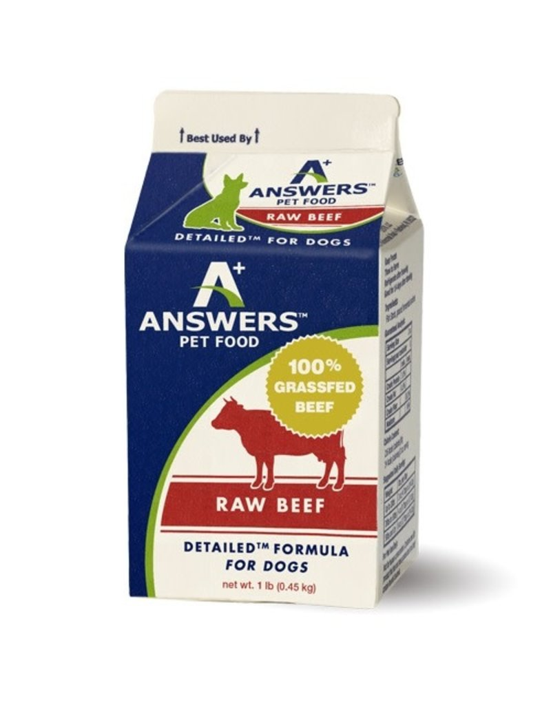Answers ANSWERS Frozen Raw Canine Detailed Beef