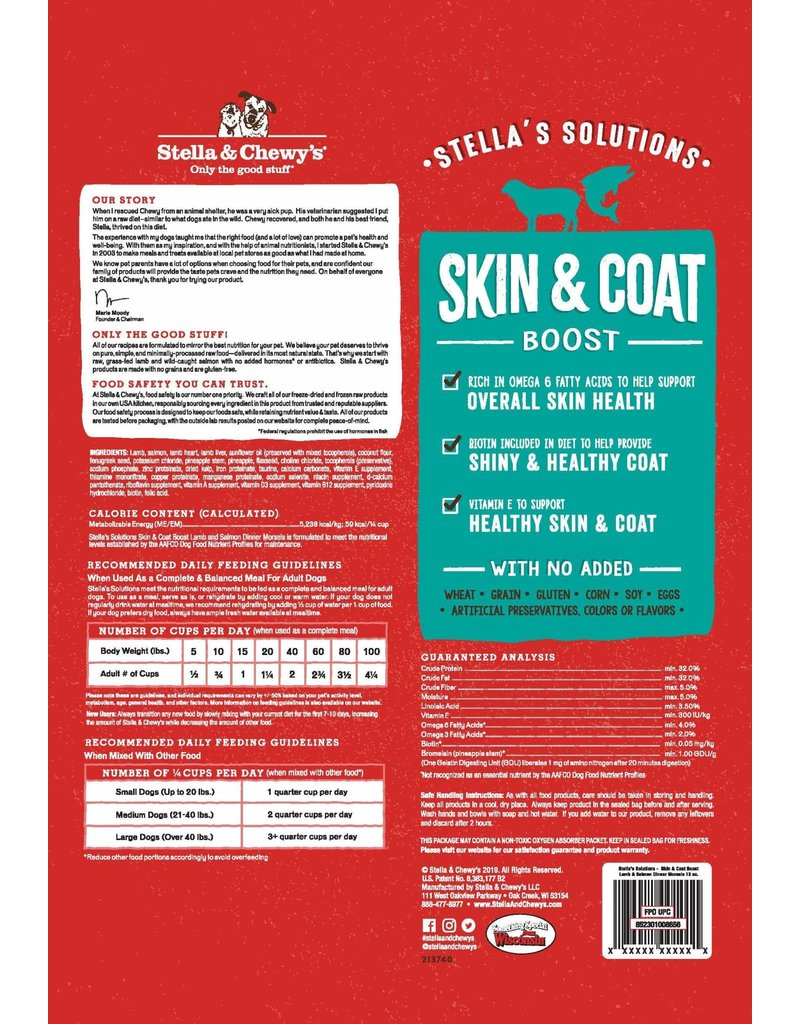 Stella & Chewys STELLA'S SOLUTIONS Skin & Coat Boost Lamb & Salmon Dinner Morsels for Dogs 13oz