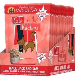 Weruva Cats in the Kitchen CITK Mack, Jack + Sam Grain-Free Cat Food Pouch Case 12/3 oz.