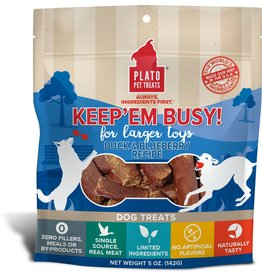 Plato Pet Treats PLATO Keep Em Busy Dog Treats Duck & Blueberry 5oz
