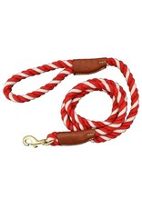 Auburn Leathercrafters Cotton Rope & Leather Leash Red/Natural 1/2""