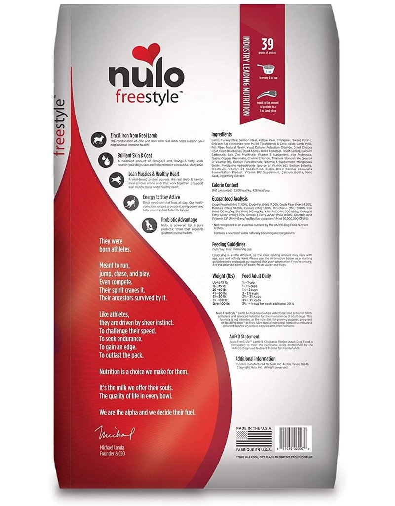 NULO NULO Freestyle Grain Free Lamb & Chickpeas Dry Dog Food 24 lb