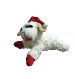 MULTIPET Laying Lamb Chop with Santa Hat Squeaky Plush Toy