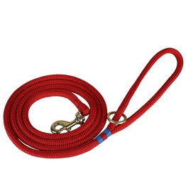 THE BELTED COW THE BELTED COW Maine Dock Line Dog Lead in Red with Light Blue Trim