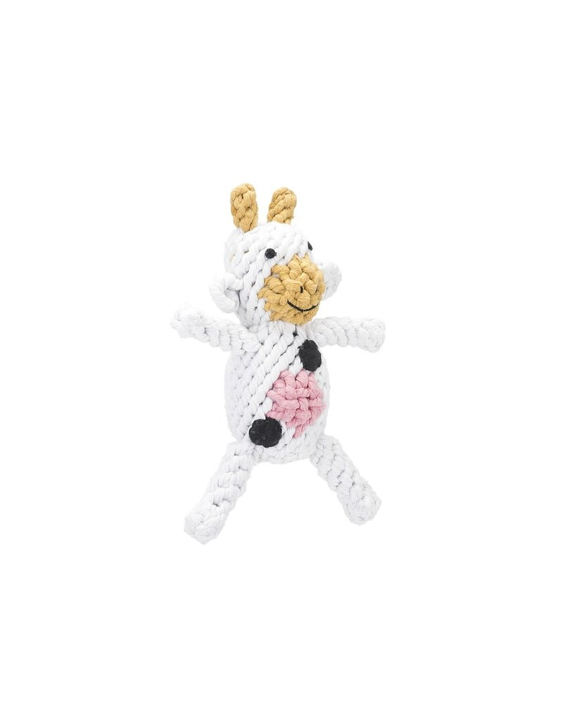 Jax & Bones GOOD KARMA Claire the Cow Rope Toy Small