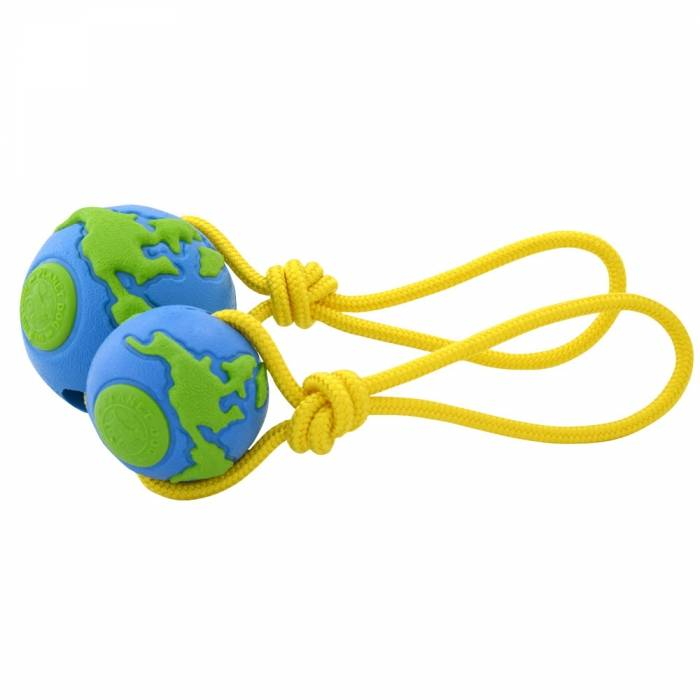 Planet Dog Planet Dog Ball WIth Rope Medium Blue Green