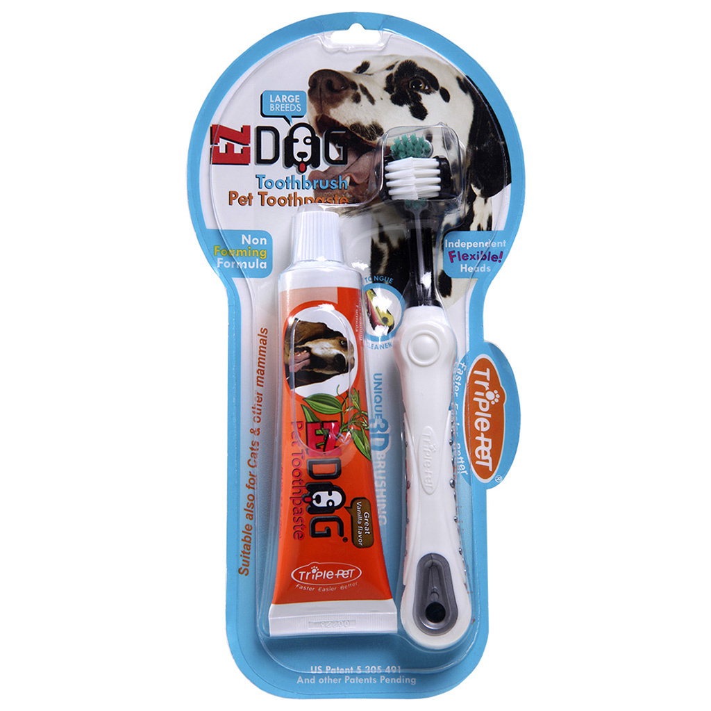 Triple Pet Triple Pet Large Breed Toothbrush & Paste Kit