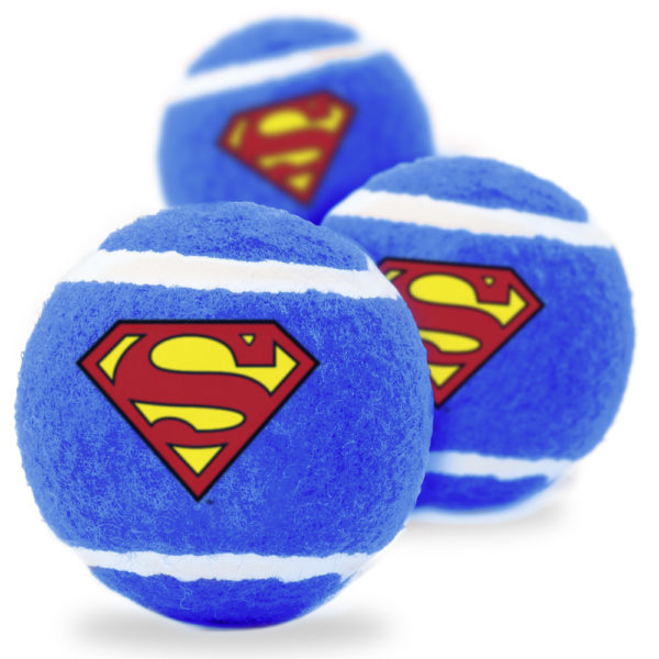 Buckle Down Superman 3pk Squeaky Tennis Balls