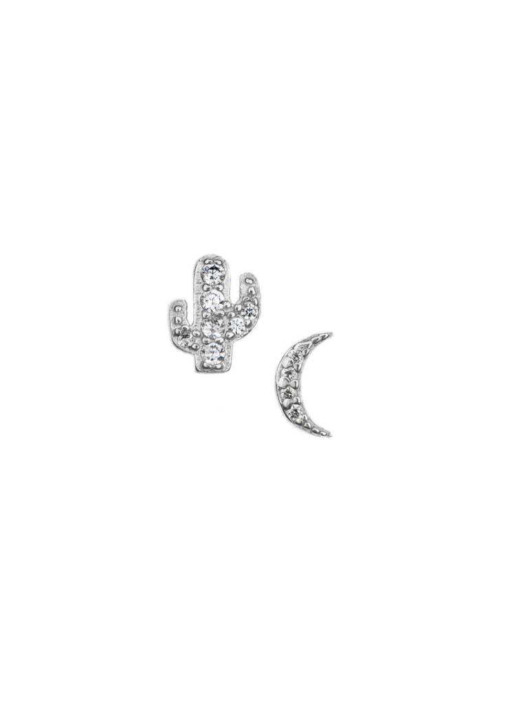 Pave Cactus & Moon Stud Earrings
