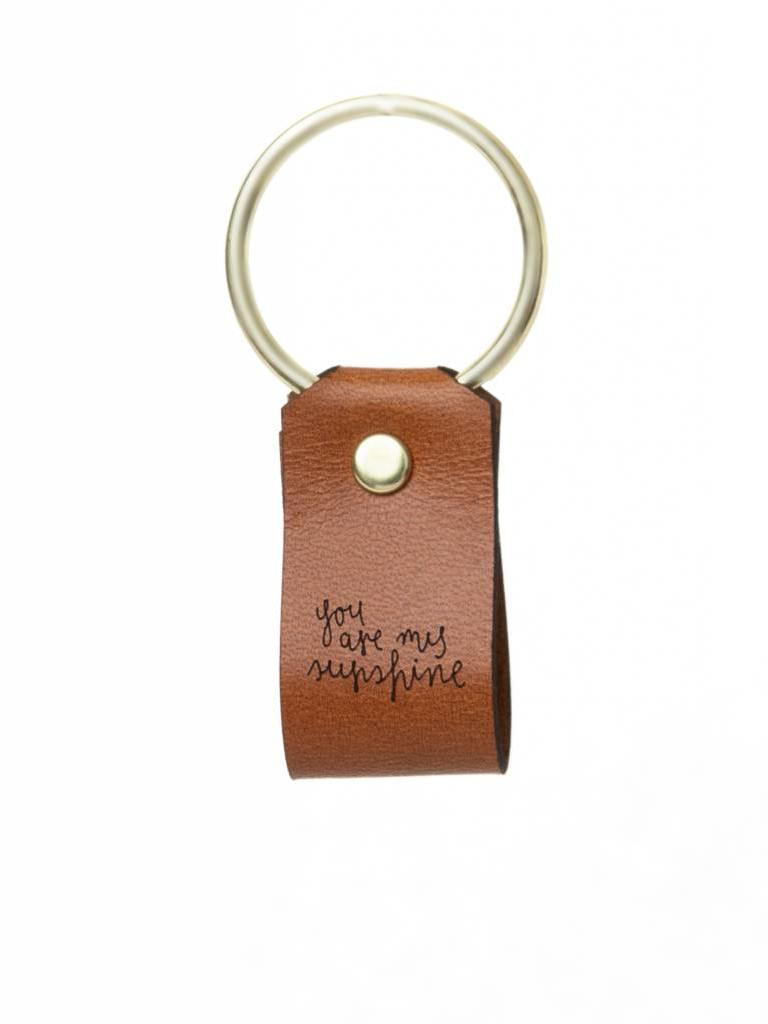 Leather Keychain, You Are My Sunshine